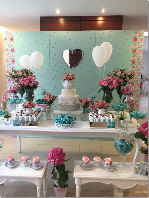 decoração azul e rosa