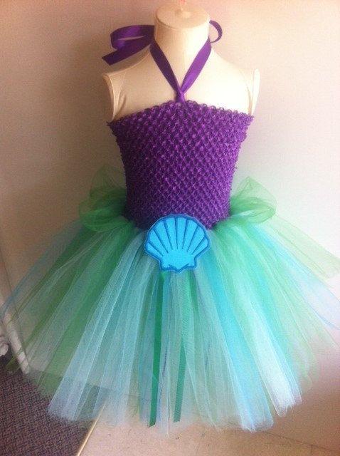 Fantasia Ariel Simples com saia de tule verde
