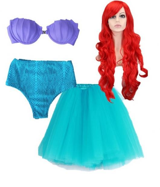 Fantasia Ariel Simples com saia azul e top roxo