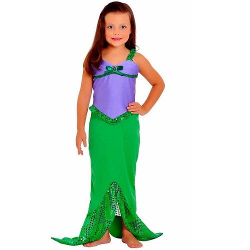 Fantasia Ariel Infantil com bordado de paetê verde
