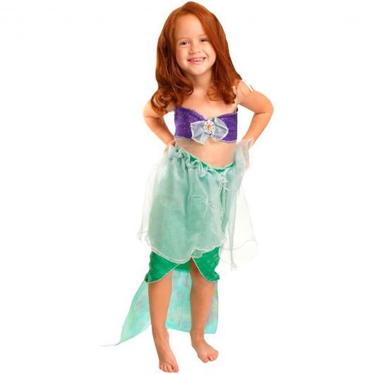 Fantasia Ariel Infantil com blusinha roxa