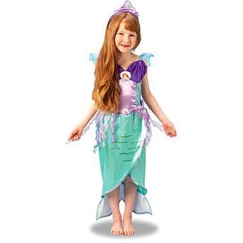 Fantasia Ariel Infantil vestido verde e roxo