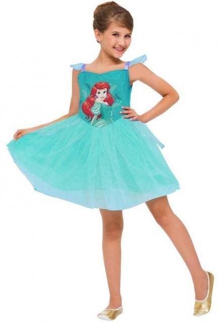 Fantasia Ariel Infantil vestido verde com estampa da Ariel