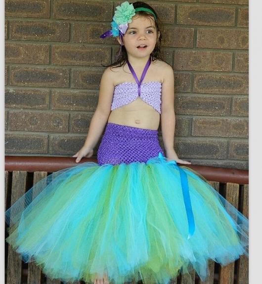 Fantasia Ariel Infantil tope e cauda feita com tule