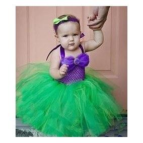 Fantasia Ariel Infantil com saia verde de tule para bebê