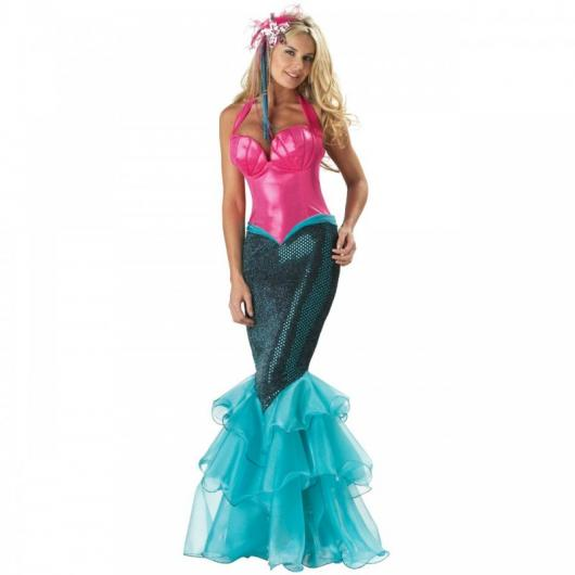 Fantasia Ariel luxo rosa, azul e preta