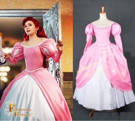 Fantasia Ariel luxo rosa da Princesa Ariel humana