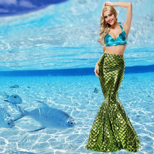 Fantasia Ariel luxo com cauda verde e escamas costuradas