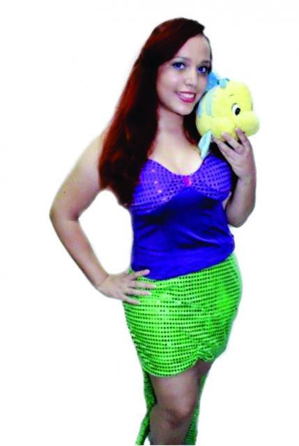 Fantasia Ariel Simples com saia verde com lantejoula