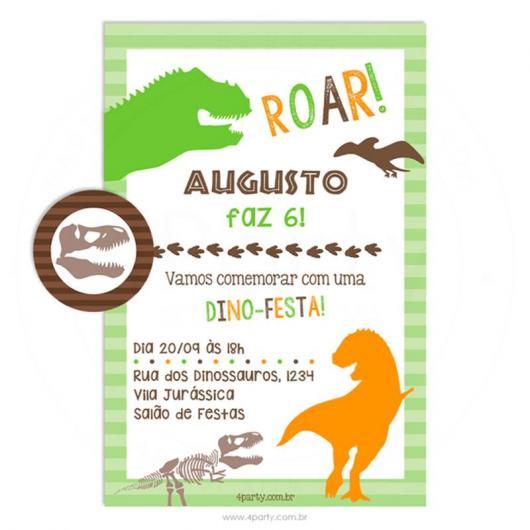Convite Festa Dinossauro nas cores laranja, marrom e verde