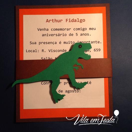Convite Festa Dinossauro com dinossauro verde