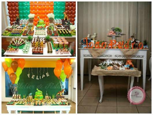 Festa Dinossauro provençal com balões verdes, laranjas e marrons