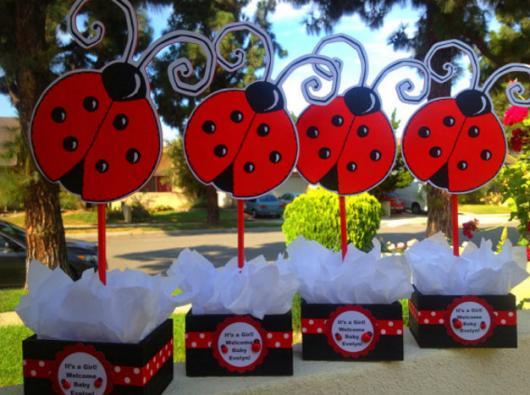 Decoração da Festa Ladybug Baby centro de mesa de papel