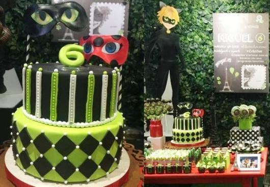 Decoração da Festa Ladybug e Cat Noir com bolo verde, preto e branco