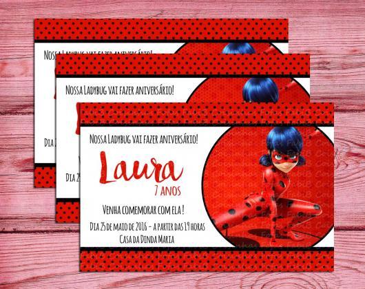 Convite Festa Ladybug estilo cartão