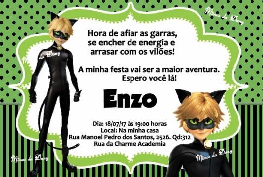 Convite Festa Ladybug e Cat Noir verde e preto