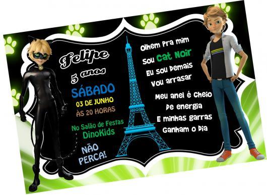 Convite Festa Ladybug e Cat Noir com Torre Eiffel