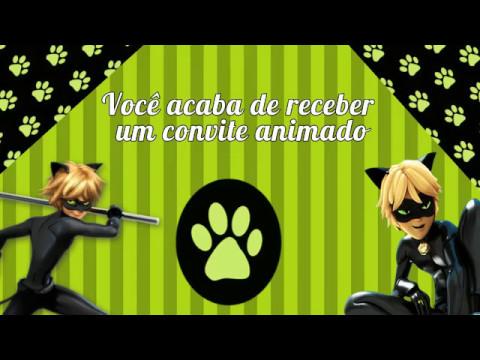 Convite Festa Ladybug e Cat Noir com pegadas de gato