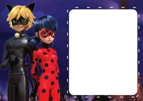 Convite Festa Ladybug e Cat Noir com fundo azul