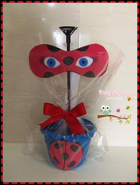 Lembrancinhas Festa Ladybug: cachepô com pega balão
