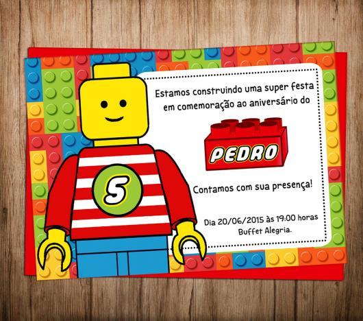 Convite Festa Lego com mensagem personalizada