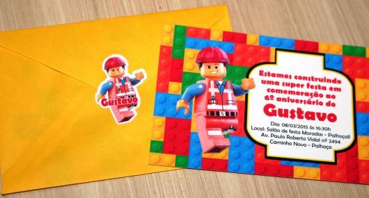 Convite Festa Lego com lego construtor