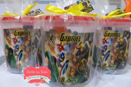 Lembrancinhas Festa Lego copo personalizado com Lego Marvel