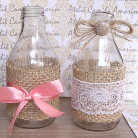 Garrafinhas para Lembrancinhas de Vidro com estopa e renda