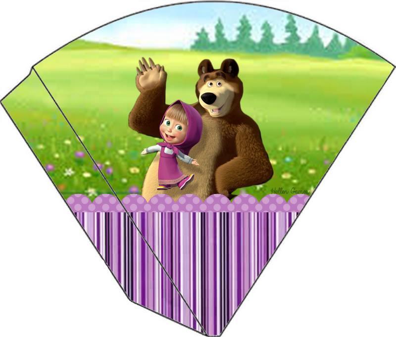 Kit Festa Masha e o Urso para cone trufado