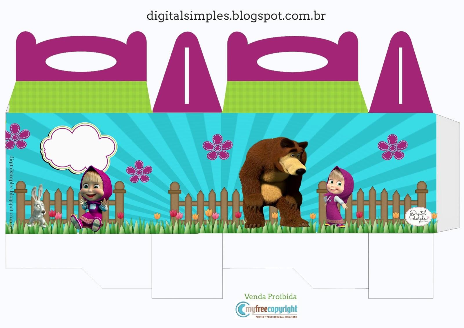 Kit Festa Masha e o Urso caixinha com alça