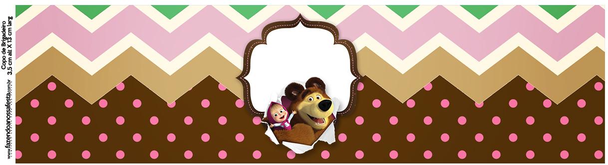 Kit Festa Masha e o Urso rótulo de garrafa com os personagens