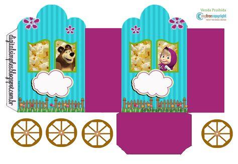 Kit Festa Masha e o Urso caixinha de leite