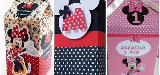 Lembrancinhas com Caixa de Leite modelos da Minnie