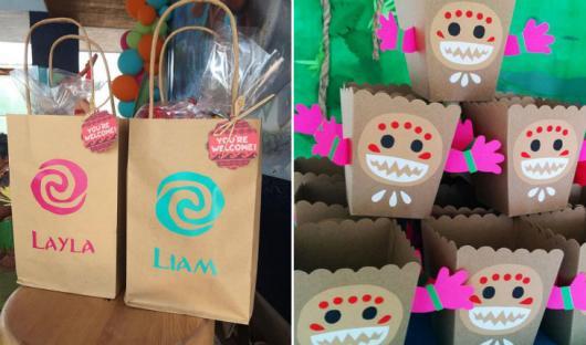 Lembrancinhas Moana Simples sacola de papel para doces