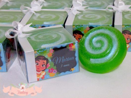 Lembrancinhas Moana Simples sabonete com caixinha personalizada