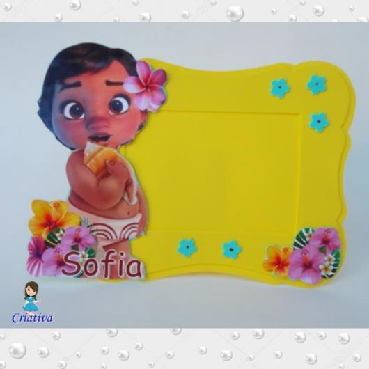 Lembrancinhas Moana Baby porta retrato de EVA amarelo