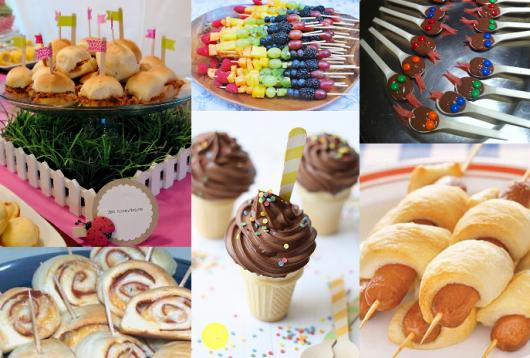 Dicas de o que servir em festa infantil simples e barato: brigadeiro de colher e espetinho de frutas