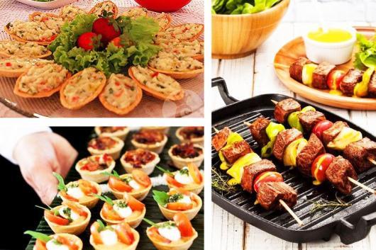 Dicas de o que servir em festa infantil simples e barato: barquete com maionese e espetinho com carne e legumes