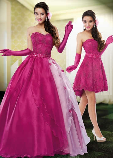 vestido de debutante rosa 2 em 1