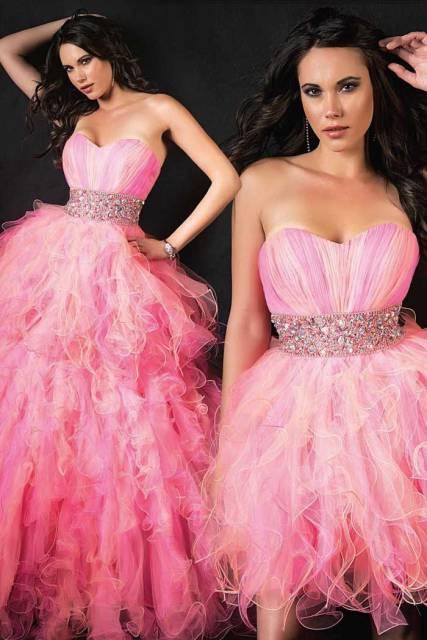 vestido de debutante rosa duplo