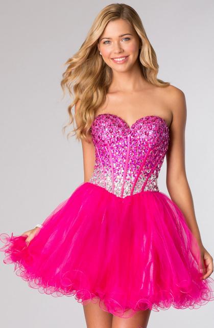 vestido de debutante rosa tomara que caia com brilho