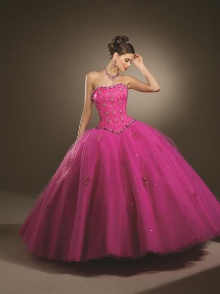 vestido de debutante rosa estilo princesa