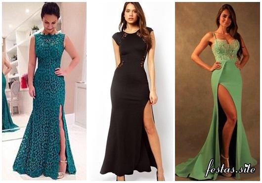 vestido de festa longo com fenda modelos