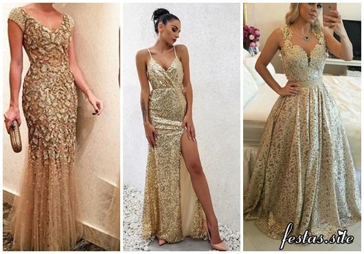 vestido de festa longo modelos dourados