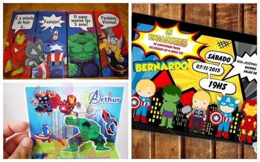 Dicas de convites dos Avengers