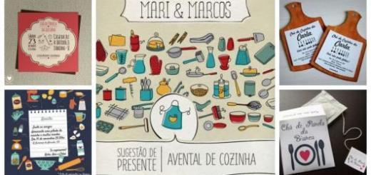 Montagem com cinco convites de Chá de Panela.
