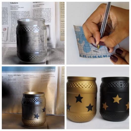 Montagem com lembrancinha de pote de vidro enfeitado com estrelas.