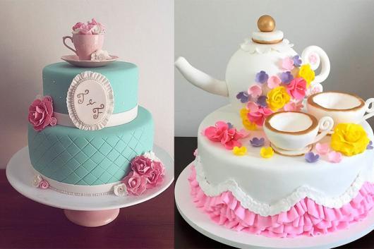 Bolo de Chá de Panela azul com babado rosa