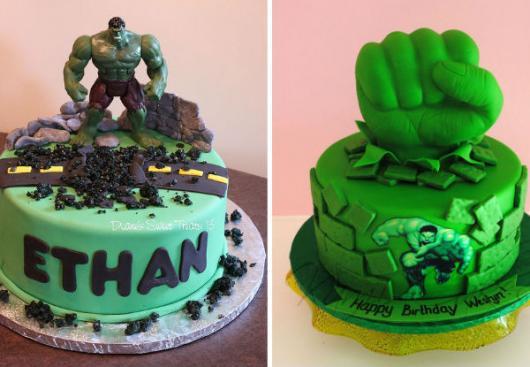 Bolo do Hulk de pasta americana decorado com topo do Hulk e nome do aniversariante na lateral