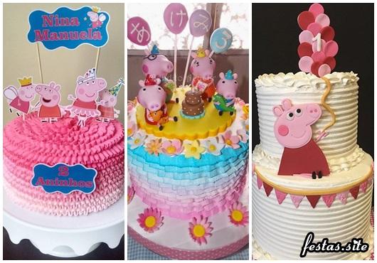 Bolo Peppa Pig decorafdo com chantilly modelos